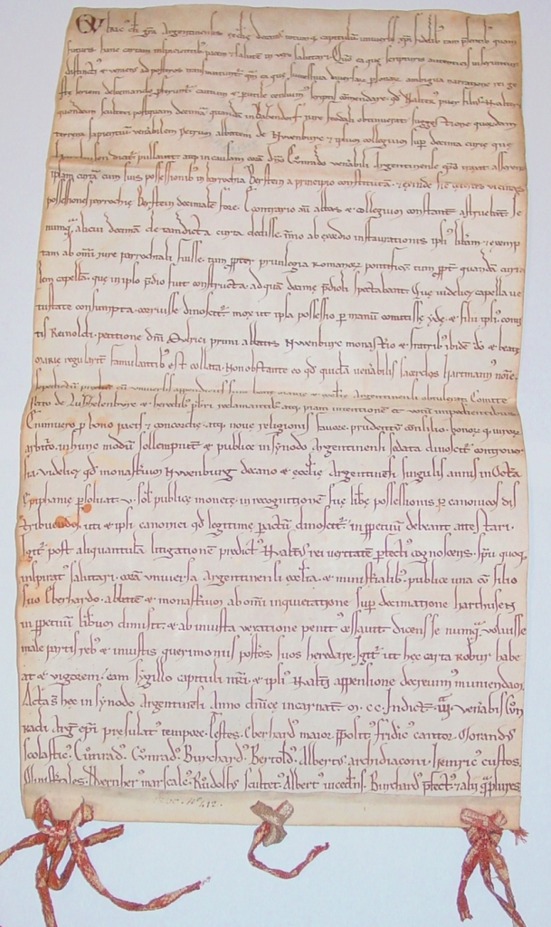 Un parchemin de janvier 1200 : le plus ancien document original conservé aux Archives Municipales de Haguenau